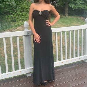 Form fitting black gown